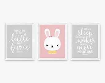 Baby Girl Bunny Nursery Decor - Though she be but little, She is Fierce, Mountains Shakespeare, Let her sleep - Set of three