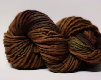 Single Ply Yarn Merino Slub Hand Dyed 44sp15029 Brown