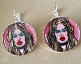 Sale was 18 now 16uk.Silvertone Large Cabochon Pop Art Hand coloured Doodle Designs earrings.