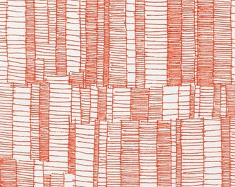 Doe Ladder Lines in Tangerine, Carolyn Friedlander, Robert Kaufman Fabrics, 100% Cotton Fabric, AFR-15026-147 TANGERINE