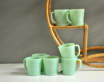 Vintage Jadeite Mug Collection - Eight D Handle Fire King Mugs