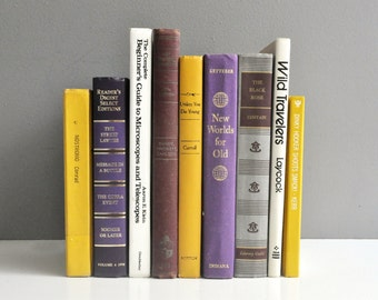 Vintage Book Collection - Purple, Yellow, and White Books