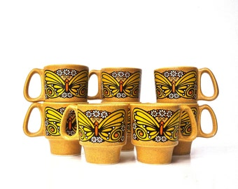 Set of Eight Ceramic Butterfly Mugs