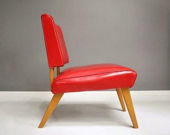 Mid-Century Viking Artline Wood and Vinyl Slipper Chair