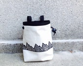 MOUNTAINS!!! ..handcarved, blockprinted, rock climbing chalk bag..ready to ship.