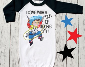 graphic tee Layette | raglan | baseball style | infant gown | baby gown | new baby | shower or new baby gift | Raglan Little Dude