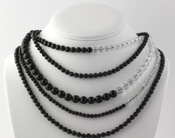 """Beaded Black Agate Necklace 20.5""""- Sterling Silver Multi-Strand Women's R232"""