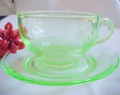 Vintage Green Cup and Saucer, 1930s Uranium Glass, Collectible Depression Glassware, Coffee Cup, Tea Cup, Old Kitchen Glassware