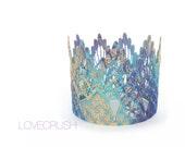Ready to Ship || Mermaid pattern MINI Sienna crown|| unique|| purple + turquoise + gold ||headband option|| waterproof