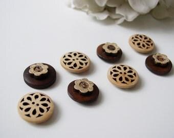 Wood Button Magnets - Set of 8 Refrigerator Magnets Carved Flower for Magnetic Bulletin Boards Wood Dark Brown Flower Shaped Large