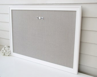 Deluxe Burlap Bulletin Board MAGNETIC BOARD Super White Frame and Gray Burlap Fabric Organizer - 26.5 x 38.5 Magnet Board Hardwood Frame