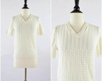 Vintage sweet white short sleeve sweater / novelty knit tee