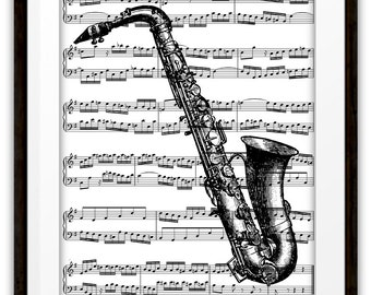 Antique Saxophone Illustration Music Book Page Art Print, Saxophone Player, Orchestra, Jazz, Pop, Rock, Country Band