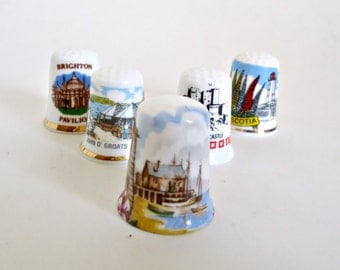 5 Thimbles Bone China Thimbles Souvenir Thimbles Instant Collection