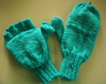 Wool convertible mittens / fingerless gloves, size M, glittens, flip top mittens, with flip thumb