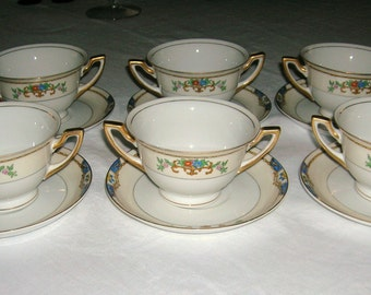 Vintage Meito Porcelain China 6 Bouillon Cream Soup Cups & Saucers Warren Pattern Circa 1920-30's