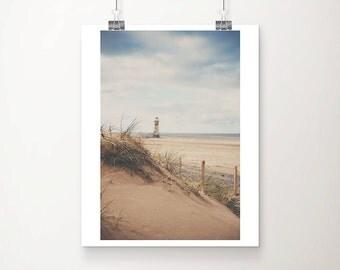 lighthouse photograph beach photograph ocean photograph nautical decor lighthouse print lighthouse art Talacre beach print