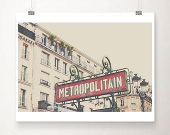 paris photograph paris decor metro photograph paris print french decor red paris metro sign photograph metro print travel photography