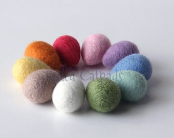 10 Little Needle Felted Wool Eggs - Assorted Solid Colors