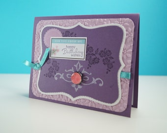 Birthday Greeting Cards - Wishing Happy Birthday - Card For Mom - Card For Dad - Blank Greeting Card - Unique Birthday Cards - Purple Card