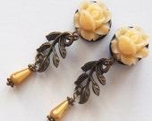 "Plugs 1/2"" 12mm Golden Roses on the Vine Dangle Gauges"