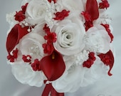 "17 Piece Package Bridal Bouquet Wedding Bouquets Silk Flowers Bride Maid Bridesmaid Corsages Calla Lily RED WHITE ""Lily of Angeles"" REWT10"