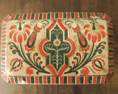 ANTIQUE German TIN BOX Vintage folkloristic pattern metal box old collectible home decor 1930s 1940s