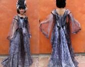 Vintage Halloween Wedding Dress Costume Bustle Gown + Wig. Victorian Bustle. Marie Antoinette. Bride of Frankenstein. Black grey steampunk
