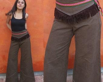 SALE Vintage Women's High Waisted Bell Bottom Pants with fringe Ethnic Trim. Brown Hip Huggers flare leg pants. Boho gypsy hippie festival