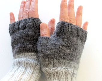 CHRISTMAS SALE - Dark Gray Arm Warmer Knitting Fingerless Gloves / Batik colors / Black and Grey / Arm Mittens. /  fashion . HandKnit no:1