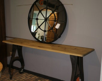 INDUSTRIAL PINE TOP console with heavy duty cast iron Legs