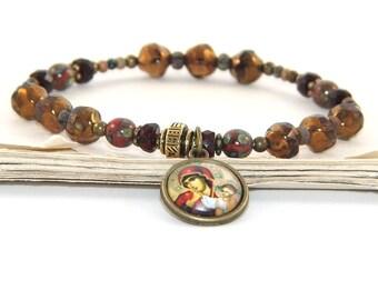 Madonna & Child Chaplet Bracelet, Stretch Catholic Prayer Bracelet