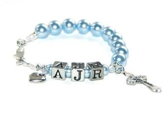 Catholic Baby Bracelet, Personalize with 3 Letter Beads, Baptism Bracelet, Swarovski® Pearls