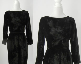 Vintage Dress, Vintage Black Dress, 1950 Black Dress, 1950 Black Velvet Dress, Vintage Black Velvet Dress, Retro 50s Dress, Vintage LBD