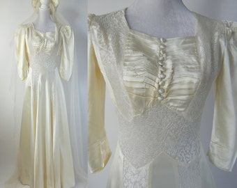 Vintage Wedding Dress, 1930s Wedding Dress, 30s Wedding Gown, Satin Wedding Dress, Art Deco Gown, Art Deco Wedding Gown, Ivory Wedding Dress