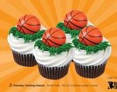 Basketball Cupcake Topper Rings, 12 Basketball Cupcake Toppers, Cupcake Rings, Party Favors, Plastic Charms, NBA, College Basketball