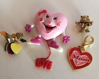 Heart Shaped Pins Pendant Mom Vintage lot 370