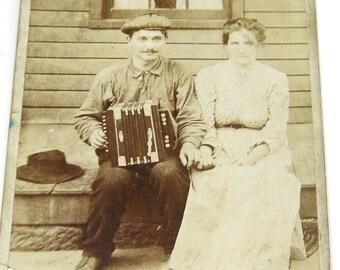 Antique Photograph, Cleveland Man with Accordion, Polka Couple Portrait