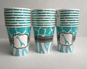Blue Baby Shower Cups: Safari Theme Animal Print Party Supplies