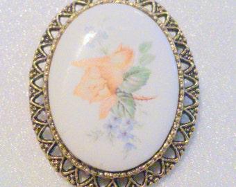 Vintage Floral Porcelain Cabochon Brooch