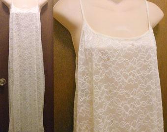 Vintage Women's Olga Ivory Lace Long Nightgown Size Large