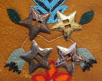 Intricate STAR Conchos - 24 pcs - Your Choice of Gunmetal, Antique Copper, Silver or Gold Tone - Native American / Western Craft Supply