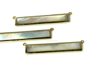 Bar - Mother of Pearl Bar - Gold Over Sterling Silver Bar - 2 Bail Pendant, Connector, Two Hole Pendant Bar, Gold over Sterling Bezel, MOP
