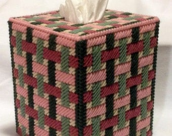 Woven Ribons Tissue Box Cover in Plastic Canvas - PATTERN ONLY