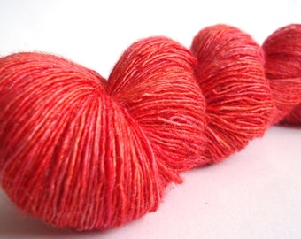 Hand dyed Merino Silk Lace yarn hand painted: Scarlet