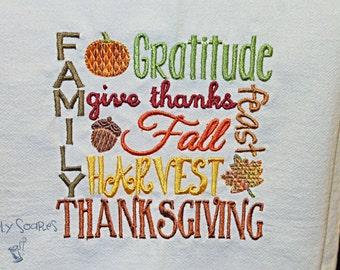 Thanksgiving Flour Sack Towel - Subway Art