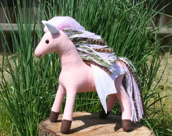 Cherry Blossom Pegasus ~ Flower Pony Collection, Pink Eco Friendly Plush Pegasus, Stuffed Animal, Eco Felt, Spring, Girls Gift, Flying Horse