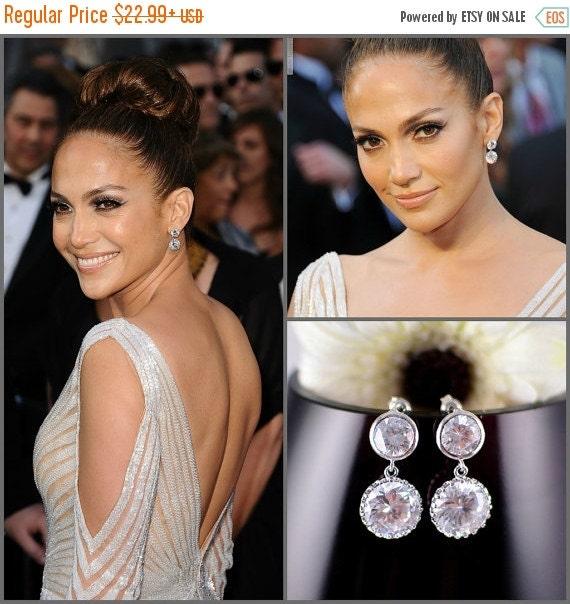 Bridal Earrings Celebrity Jewelry Wedding Earrings Cubic Zirconia Bride Earrings White Crystal Wedding Jewelry CZ Bridesmaid Gift Sterling