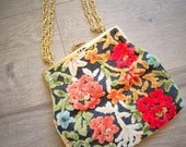 1960s Small Tapestry Handbag Gold Chain Top Closure Purse Made In Japan Womens Vintage Bag