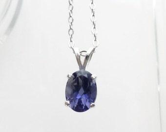 Purple Iolite Gemstone Necklace, Iolite Jewelry, Gemstone Pendant, Fine Jewelry, 925 Sterling Silver